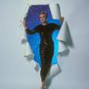 "Angela Lansbury in black sequin gown, blue and starry background, holding a long stemmed red rose, stepping through a white paper ""portal."""