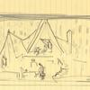 Sketch of set design from Death of a Salesman