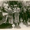 Joe E. Brown handing out mail to troops, Luzon, Philippines.