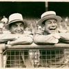 Publicity photograph of Ford Frick and Joe E. Brown at a baseball game.