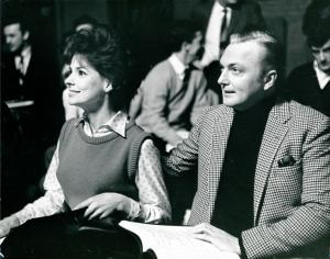 Unidentified actress and Jack Cassidy sitting during rehearsals of It's a bird, it's a plane, it's Superman
