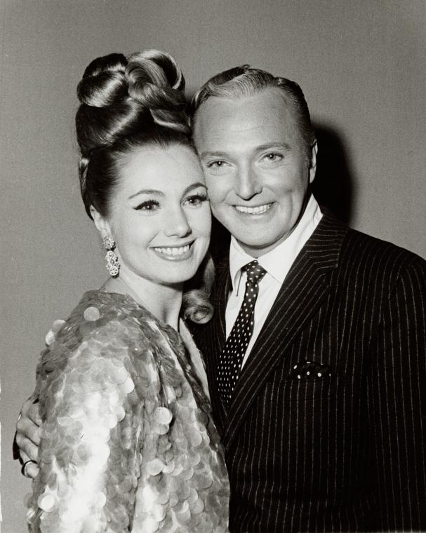 Shirley Jones and Jack Cassidy at opening night party for It's a Bird...It's a Plane... It's Superman