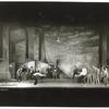"""Mickey Calin, Ken LeRoy and dancers in """"The Rumble"""" scene from the stage production West Side Story (set design by Oliver Smith)"""
