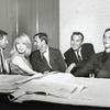 Jack Gilford, Jill Haworth, John Kander, Fred Ebb and Joel Grey during rehearsal for Cabaret
