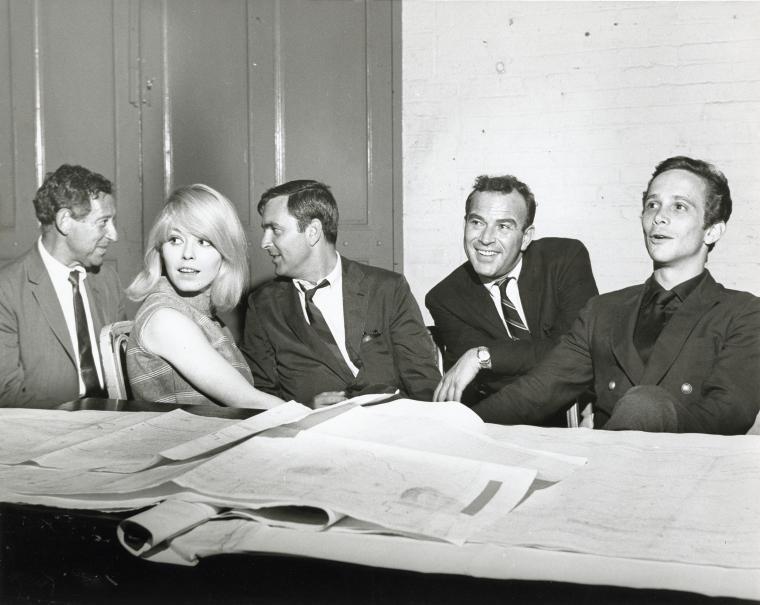 Jack Gilford, Jill Haworth, John Kander, Fred Ebb and Joel Grey during rehearsal for Cabaret