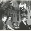 Joe Davies, Joe Cino and Judith Eckhardt inside Caffe Cino, after the re-opening after the fire