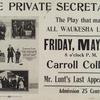 Poster for the Carroll College stage production The Private Secretary starring Alfred Lunt.