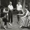 Chita Rivera, Jerome Robbins, Larry Kert and Carol Lawrence during rehearsal for West Side Story.