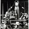 Stephen Nathan (standing) and cast in the stage production Godspell