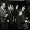 Charles Strauss, Lee Adams, Hal Prince, Robert Benton, David Newman and unidentified man during rehearsals for the stage production It's a Bird...It's a Plane... It's Superman.
