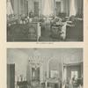 [Top:] Mrs. Gambrill's Library. [Bottom:] The Marie Antoinette Reception Room