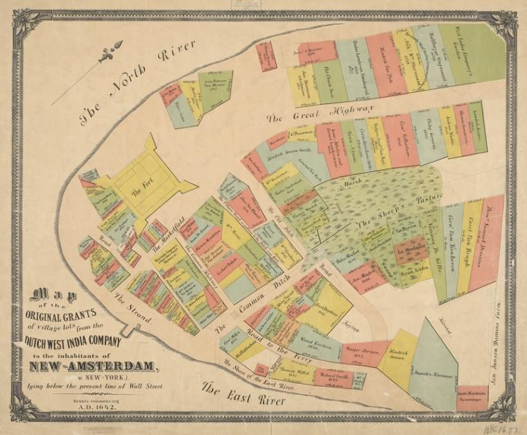 Map of the original grants of village lots from the Dutch West India Company to the inhabitants of New-Amsterdam (now New-York) lying below the present line of Wall Street : Grants commencing A.D. 1642 / located from historical & legal records by Henry D. Tyler.