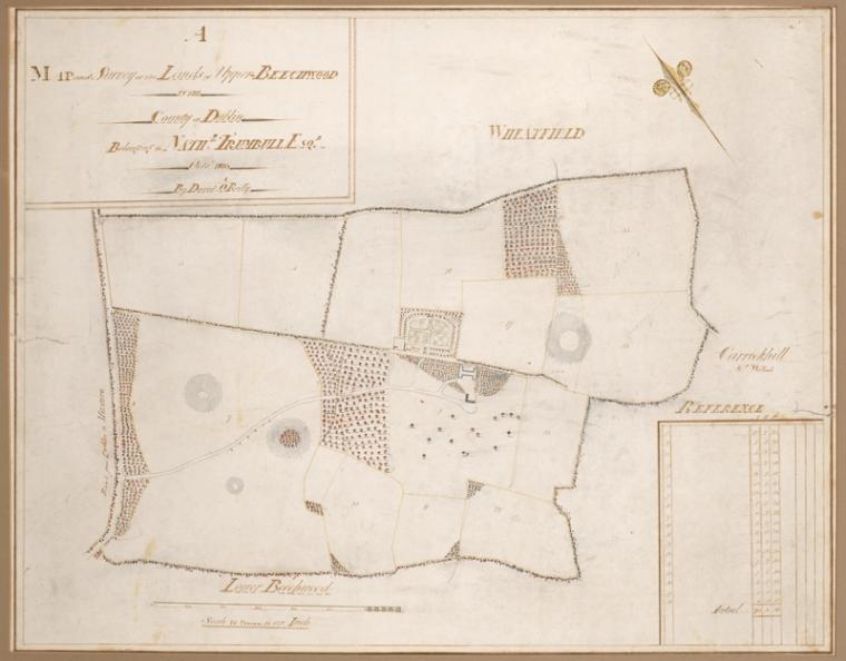 Map and survey of the lands of Upper Beechwood in the country of Dublin. Surveyed by David O'Reilly.