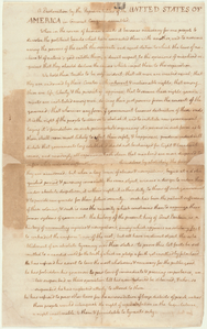 Declaration of Independence.  ... Digital ID: psnypl_mss_1228. New York Public Library
