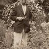 Frank J. Sprague standing in Harriet Ford's garden, Milford, Connecticut