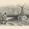 Native American man with face in hand, and view of industrialization.]