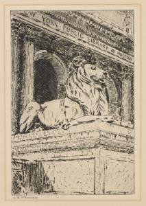 Sculptured lion in front of N.... Digital ID: psnypl_prn_1082. New York Public Library