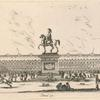 Equestrian statue atop a pediment situated in the middle of a piazza populated with people on foot and horseback