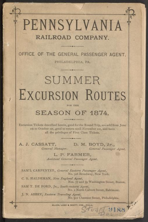 This is What Pennsylvania Railroad and Summer excursion routes ... [cover] Looked Like  in 1874