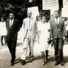 Petitioners Julian Mayfield, Alphaeus Hunton, Alice Windom, W.A. Jeanpierre and Maya Angelou Make, outside the US Embassy in Accra, Ghana