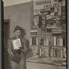 Zora Neale Hurston at Federal Writer's Project booth at New York Times Book Fair