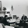 Department of Housing and Urban Development Secretary Robert C. Weaver (center) meeting with President Lyndon B. Johnson (right) and unidentified individual in the Oval Office at the White House, 1967