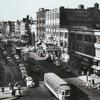 Bird's eye view of West 125th Street, Harlem, looking west from Seventh Avenue, 1943