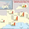 Progression of the slave population in selected Southern states, 1810-1860