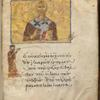 Half-portrait of St. John the Chrysostom; standing figure of a monk forms a letter kappa, fol. 403r