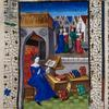 Miniature showing Leontia in a courtyard, studying a book propped up on a lectern before her.  Other books scattered around.  In middle distance, meeting of groups of courtesans and customers.  Initial, rubric, border design.