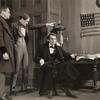 Unidentified actors and Raymond Massey as Lincoln in the stage production Abe Lincoln in Illinois.