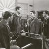 Sam Levene, Dana Andrews, Farley Granger, and unidentified actors in the motion picture The Purple Heart