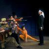 Chita Rivera, Dick Van Dyke (in blindfold), and chorus in Bye Bye Birdie
