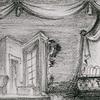 Set design sketch for the stage production Sherlock Holmes