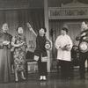 Keye Luke (Wang Chi Yang), Juanita Hall (Madam Liang), Miyoshi Umeki (Mei Li), Rose Quong (Liu Ma) and Conrad Yama (Dr. Li) in Flower Drum Song]
