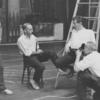Arthur Laurents, Jerome Robbins and Leonard Bernstein being photographed during rehearsal for West Side Story.