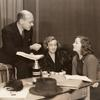 Herman Shumlin, Lillian Hellman (dramatist) and Tallulah Bankhead at rehearsal for The Little Foxes