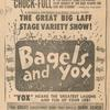 Advertisement for the stage production Bagels and Yox