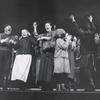 Zero Mostel, Beatrice Arthur and ensemble in Fiddler on the Roof.