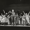Zero Mostel with cast in Fiddler on the Roof.