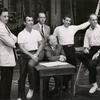 Stephen Sondheim, Arthur Laurents, Hal Prince, Robert Griffith, Leonard Bernstein, and Jerome Robbins during rehearsal for the stage production West Side Story