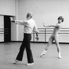 (L-R) Choreographer Jerome Robbins in rehearsal with ballet dancer Mikhail Baryshnikov at American Ballet Theater.