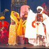 "Actors (Center) Melba Moore & Ira Hawkins w. cast in a scene fr. the Broadway musical ""Timbuktu!."" (New York)"