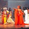 "Actors (2L-R) Melba Moore, Gilbert Price, Eartha Kitt & Ira Hawkins w. cast in a scene fr. the Broadway musical ""Timbuktu!."" (New York)"