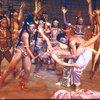 "Actors (Front L-R) Eleanor McCoy, Eartha Kitt & Ira Hawkins w. cast in a scene fr. the Broadway musical ""Timbuktu!."" (New York)"