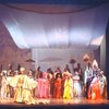 "Actors Gilbert Price (Front L) & Eartha Kitt (2R) w. cast in a scene fr. the Broadway musical ""Timbuktu!."" (New York)"