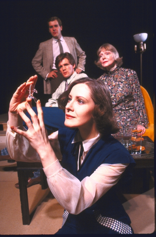 Actors (L-R) William Anton, Anthony Heald, Patricia Angelin and Julie Haydon (who created the role of Laura in 1945) in a scene from the Off-Broadway revival of the play