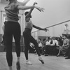 """(3R-R) Choreographer George Balanchine, composer Igor Stravinsky and friend Lucy Davidova at rehearsal of New York City Ballet production of """"Agon"""" (New York)"""