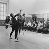 "(4R-R) Choreographer George Balanchine, composer Igor Stravinsky, friend Lucy Davidova and author Bernard Taper at rehearsal of New York City Ballet production of ""Agon"" (New York)"