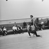 """(3L-4L) Choregrapher George Balanchine and composer Igor Stravinsky watching dancers Diana Adams and Arthur Mitchell rehearsing New York City Ballet production of """"Agon"""" (New York)"""